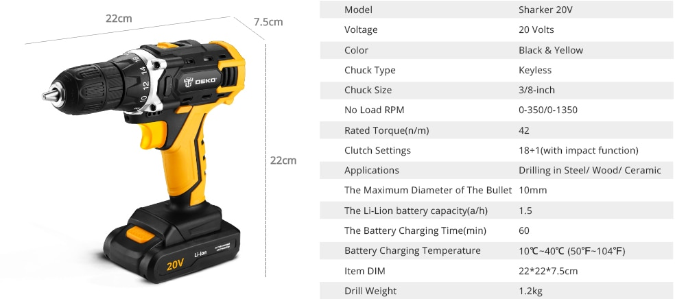 Rechargeable 20 V Electric Drill